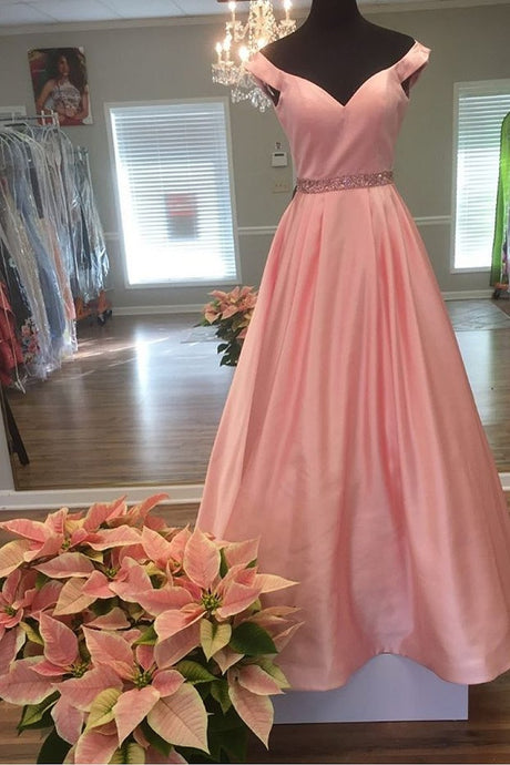 Off-the-shoulder Beading Long Satin Pink Evening Ball Gown Prom Dresses