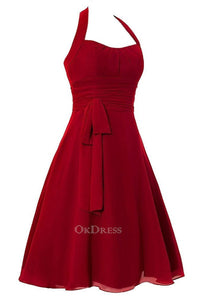 Red A-Line Square Draped Zipper 2019 Bridesmaid Dresses