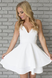 Sleeveless Zipper White Natural Spaghetti Straps A-line Prom Dresses