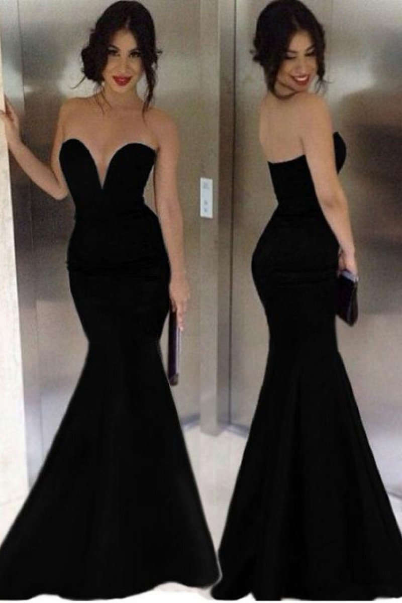 2019 Attractive Mermaid Sweetheart Pure Color Floor-Length Evening Dresses
