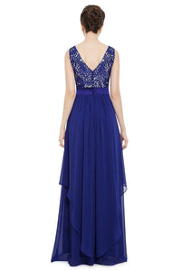 Royal Blue A-line Floor-length Sleeveless Evening Gown 2019