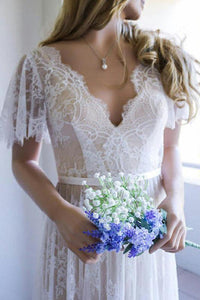 A-Line Lace V-Neck Short Sleeves Wedding Dresses