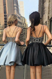 A-Line Beading V-Neck Satin Sleeveless Short/Mini Homecoming Dresses