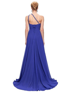 Blue A-line One-shoulder Beading Lacp-up Long Chiffon Prom Evening Dresses