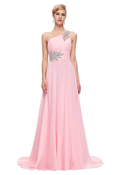 Pink A-line One-shoulder Beading Lacp-up Long Chiffon Prom Evening Dresses