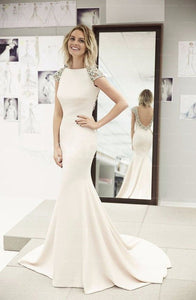 Fashion Beading Natural Bateau Short Sleeves Wedding Dresses