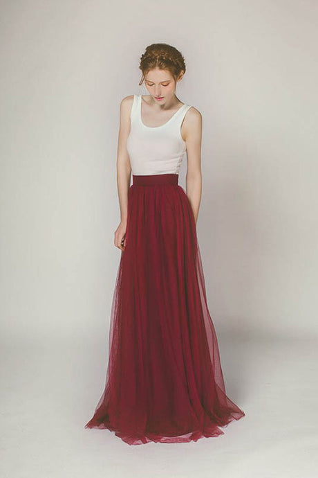 A-Line Sleeveless Long Tulle Bridesmaid Dress