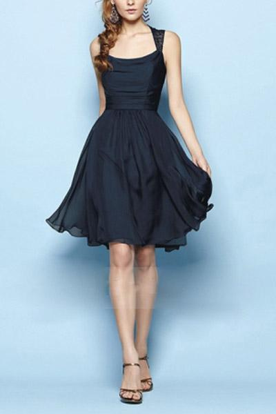 Dark Navy Great Chiffon A-line Sleeveless Above-knee Square Neckline Bridesmaid Dresses