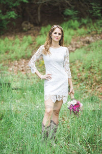 White Sheath/Column Lace Short/Mini Wedding Dresses with Sleeves