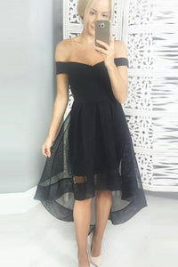 A-line Organza Off The Shoulder Zipper Asymmetrical Prom Dresses