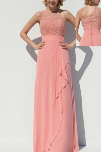 Pink Chic A-line/Princess Chiffon One-shoulder Sleeveless Appliqued Bridesmaid Dresses