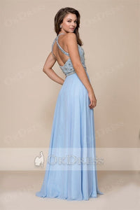 A-line Halter Beading Long Chiffon Formal Prom Dresses