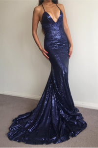 Dark Navy Sparkly Sequined Sleeveless Sweep Train Trumpet/Mermaid Prom Dresses