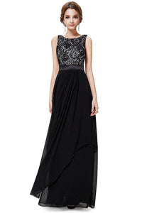 Black A-line Floor-length Sleeveless Evening Gown 2019