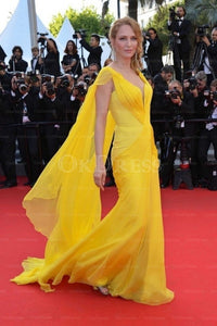 Yellow Sophisticated Sleeveless Zipper A-line/Princess Celebrity Dresses