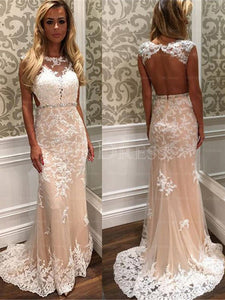 Fascinating Sweep Train Natural Beading Scoop Prom Dresses