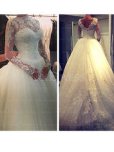 Shining Beading Ball Gown Long Sleeves High-neck Wedding Dresses