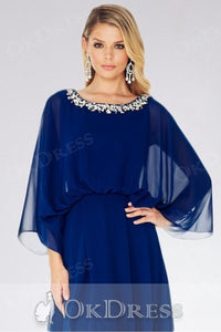Blue A-line Flutter Sleeves Beading Split Long Chiffon Formal Prom Dresses