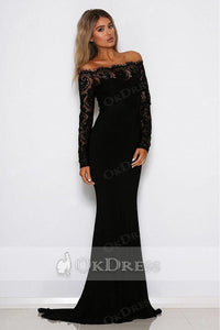 Trumpet/Mermaid Full/Long Sleeves Off-the-shoulder Formal Black Prom Dresses