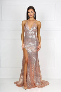 Front Slit Sequin Formal Dresses with Low Back