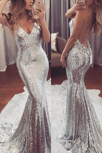 Silver Spaghetti Straps Trumpet/Mermaid Sequined Sleeveless Prom Dresses
