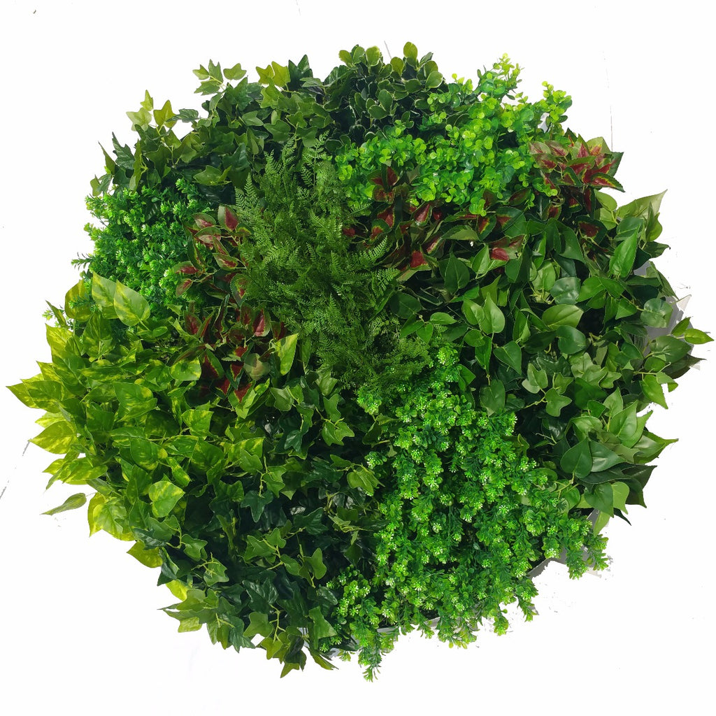 Artificial Green Wall Disk Art 100cm - Mixed Ivy And Fern