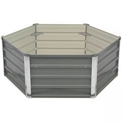 Raised Garden Bed 129x129x46 cm Galvanised Steel Grey
