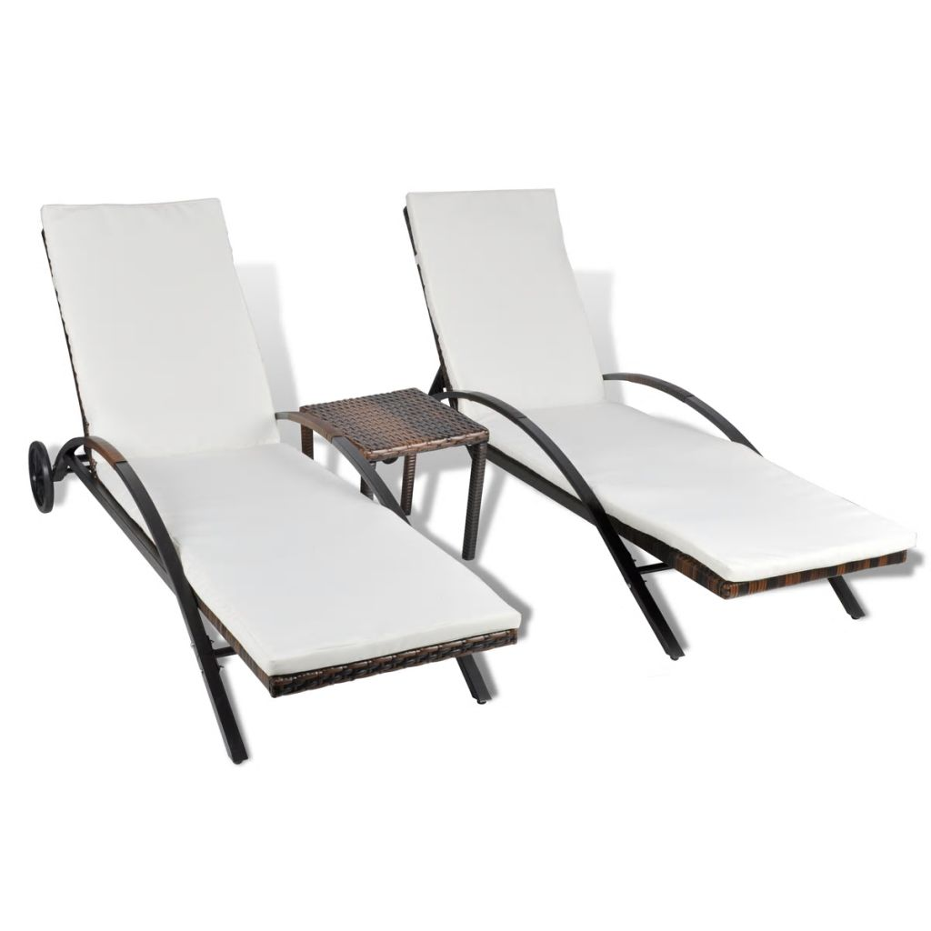 Sunlounger Set Three Pieces Poly Rattan Brown