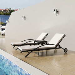 Sunlounger Set Three Pieces Poly Rattan Black