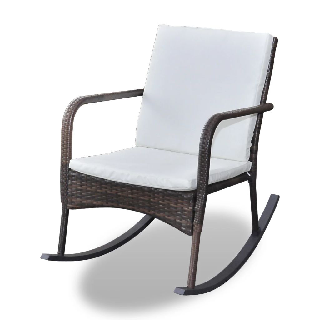 Garden Rocking Chair Poly Rattan Brown