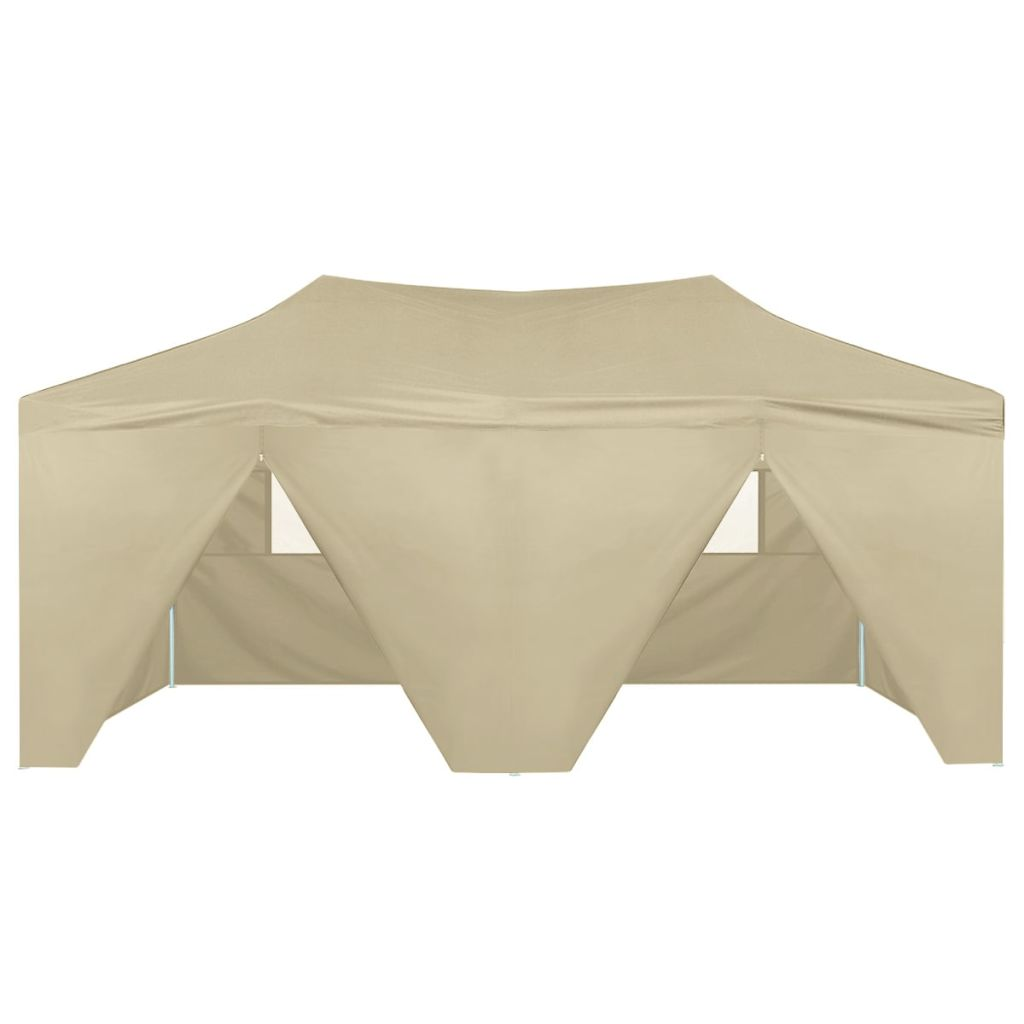 Foldable Tent Pop-Up with 4 Side Walls 3x6 m Cream White