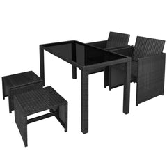 Outdoor Dining Set 11 Pieces Black Poly Rattan