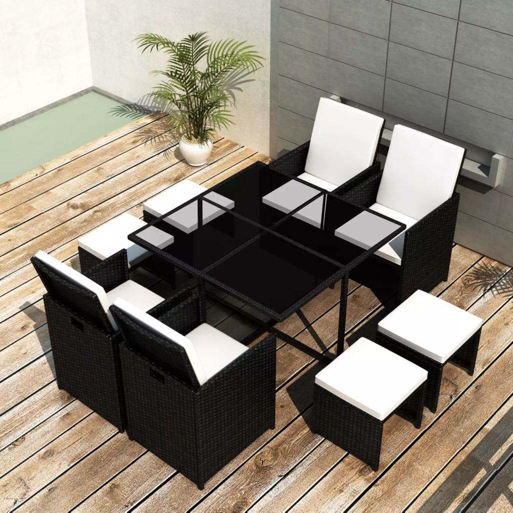Outdoor Dining Set 21 Pieces Black Poly Rattan