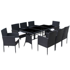 Outdoor Dining Set 17 Pieces Poly Rattan Black