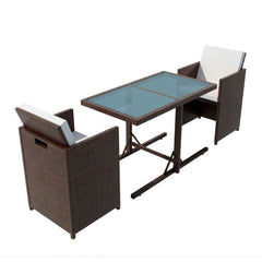 Outdoor Dining Set Seven Pieces Poly Rattan Brown