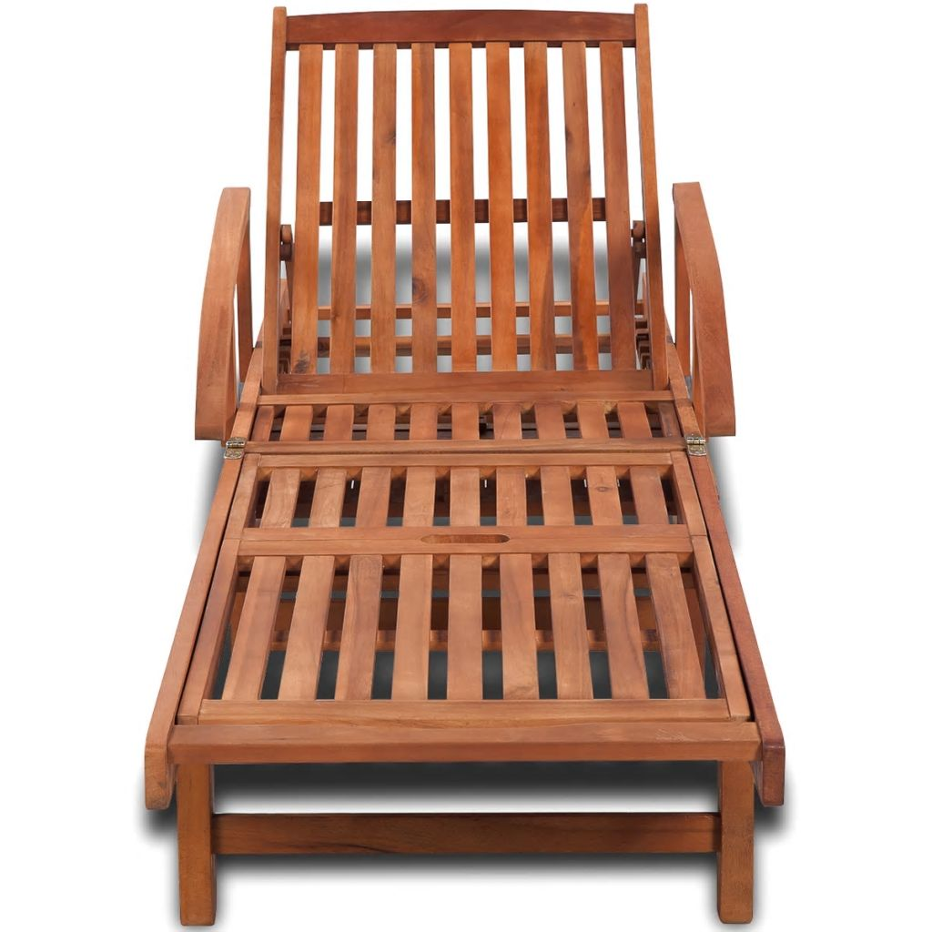 Sunlounger Solid Acacia Wood 200x68x83 cm