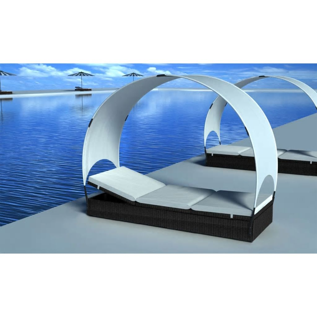 Sunlounger with Canopy Poly Rattan 194x60x30/156 cm Black