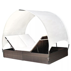 Sunlounger with Canopy Poly Rattan 194x120.5x30/156 cm Brown
