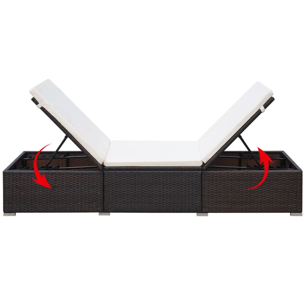 Sunlounger with White Cushion Brown Poly Rattan 195x60x31 cm