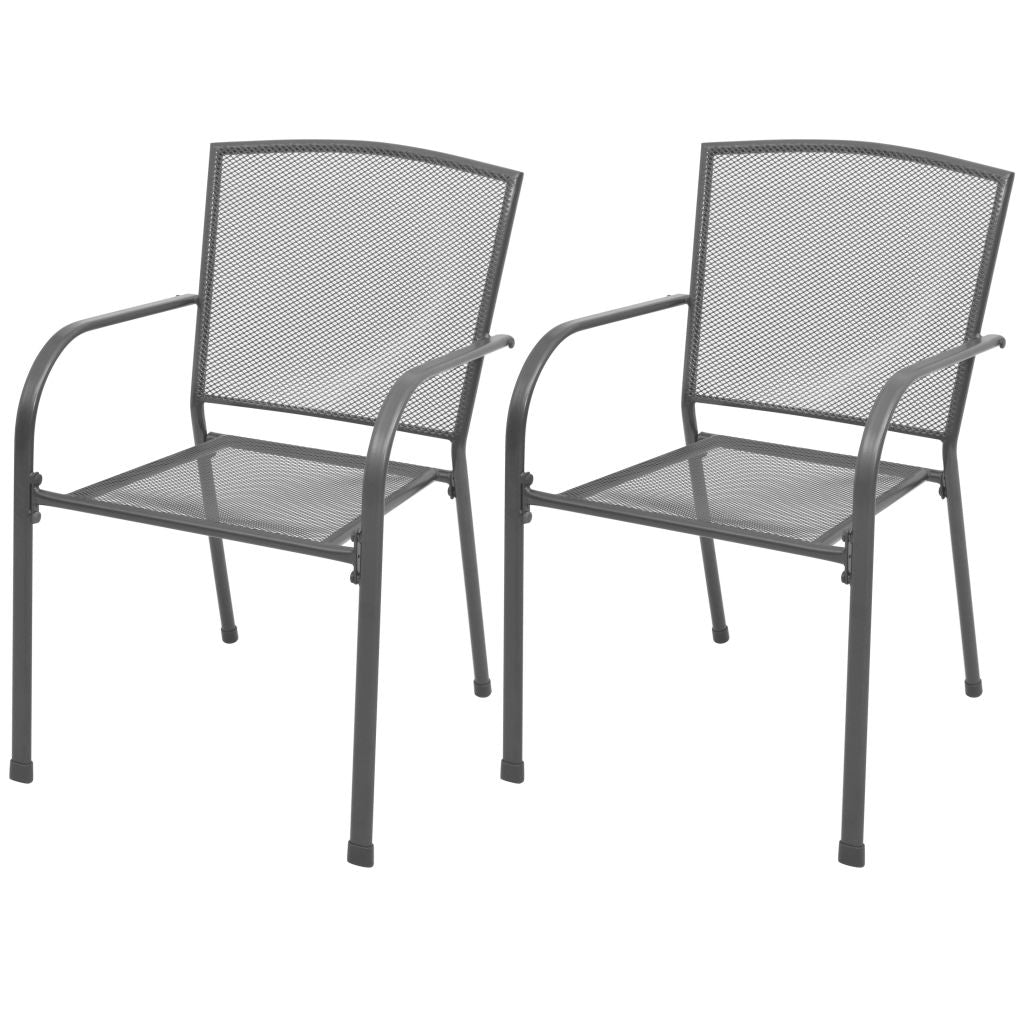 Outdoor Stacking Dining Chairs 2 pcs Steel Mesh