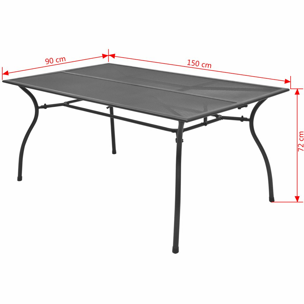 Outdoor Dining Table Steel Mesh 150x90x72 cm
