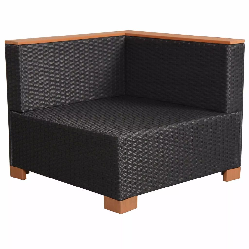 Garden Sofa Set Six Pieces Poly Rattan WPC Top Black