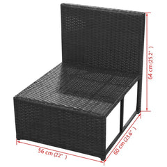Garden Sofa Set 29 Pieces Poly Rattan Black