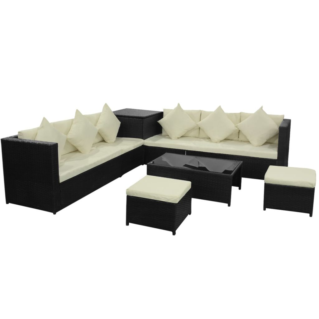 Garden Sofa Set 26 Pieces Poly Rattan Black
