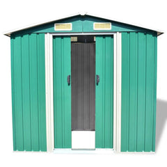 Garden Storage Shed Green Metal 204x132x186 cm