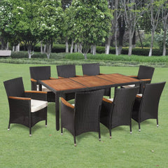 17 Piece Outdoor Dining Set Poly Rattan Acacia Table Top