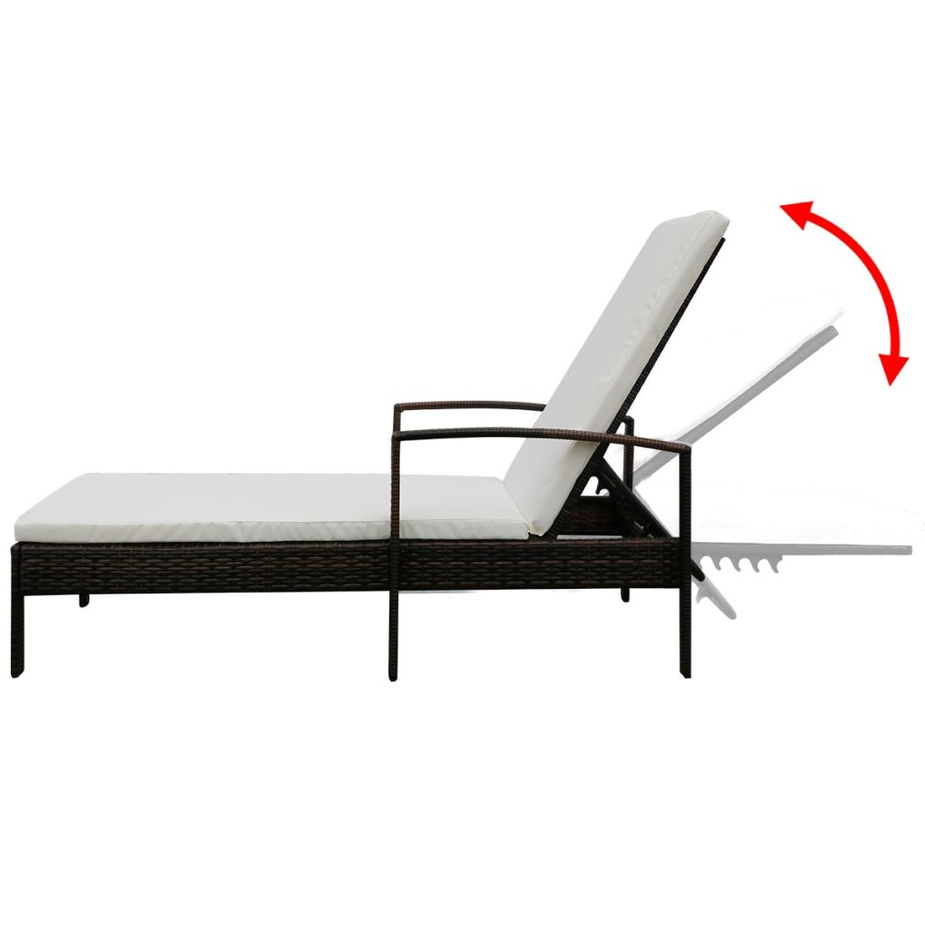 Sunlounger with Cushion Poly Rattan Brown