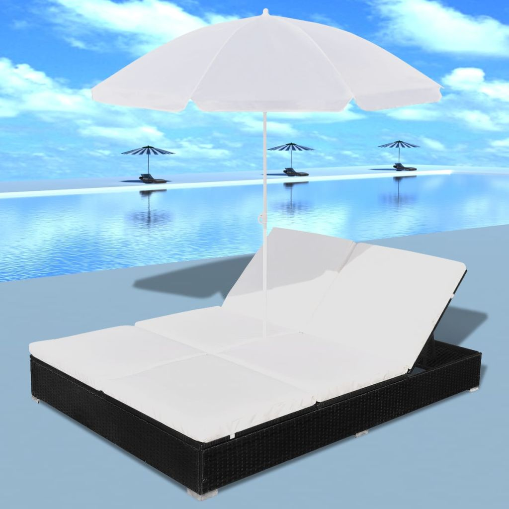 Sunlounger with Umbrella Poly Rattan Black