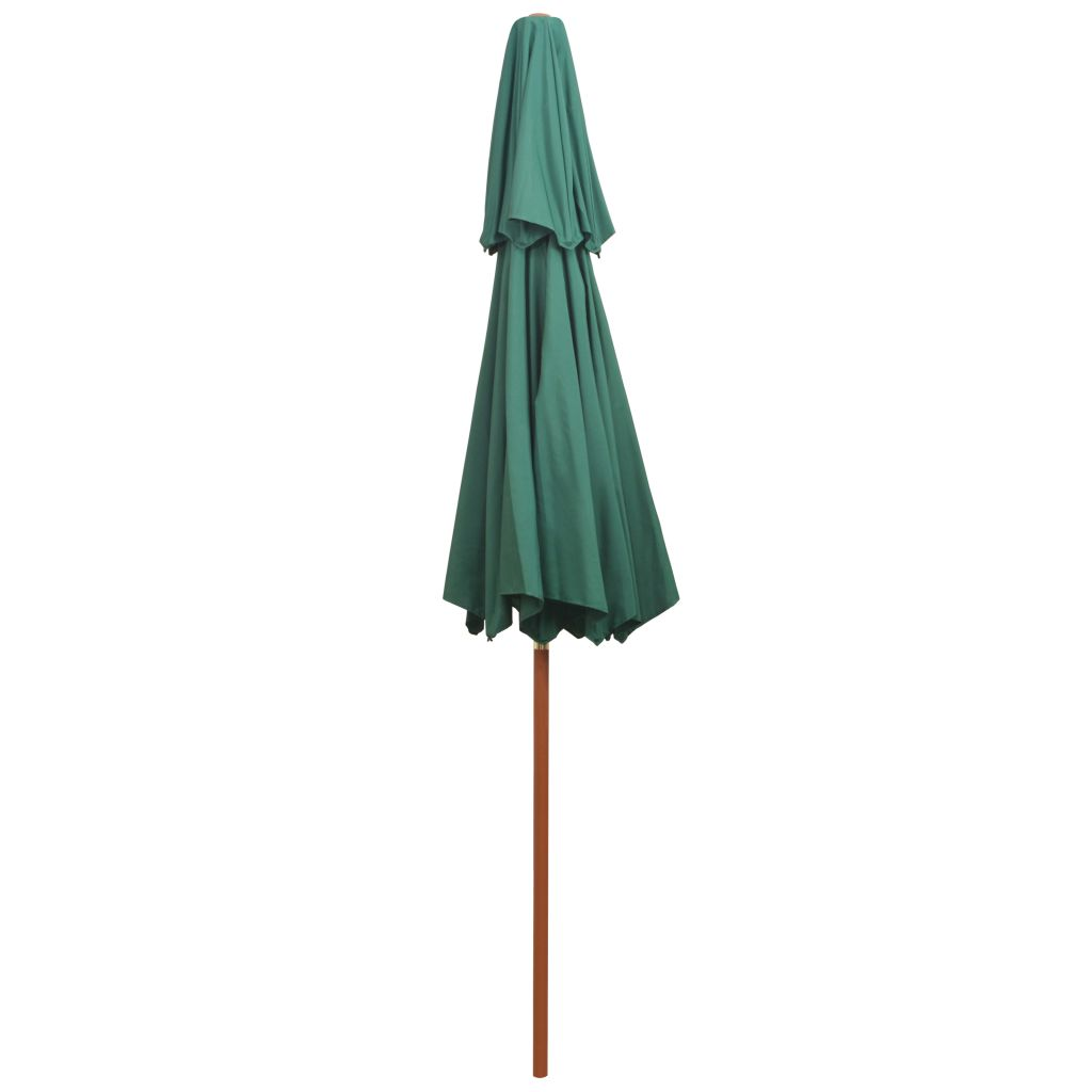 Double Decker Parasol 270x270 cm Wooden Pole Green
