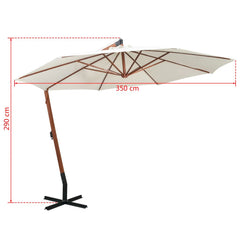 Hanging Parasol 350 cm Wooden Pole White